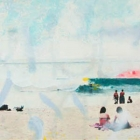 Beach Therapy  - 28 in. x 80  - mixed media on steel