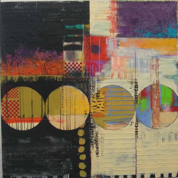 Judy Campbell - Night and Day - 48 in. x 48 - mixed media on canvas