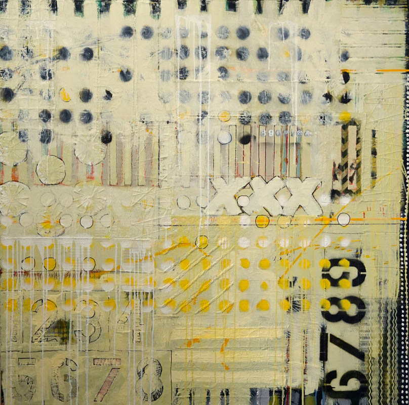 Judy Campbell - XXX  - 55 in. x 55  - mixed media on canvas