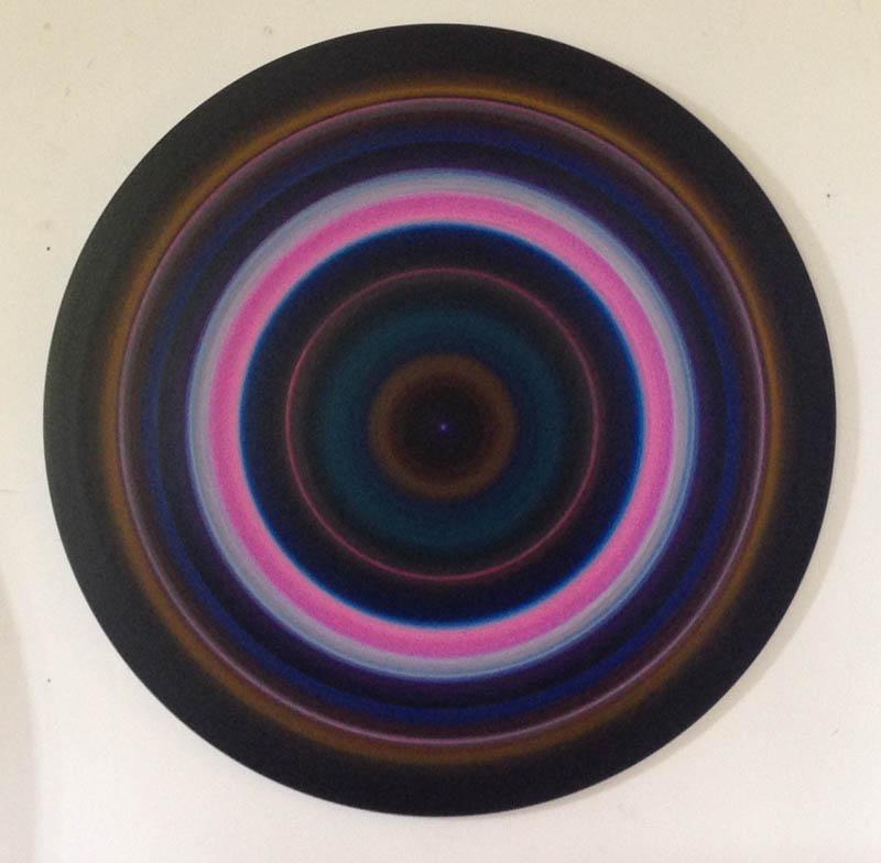 Untitled - acrylic & pigment on aluminum - 48 inch diameter