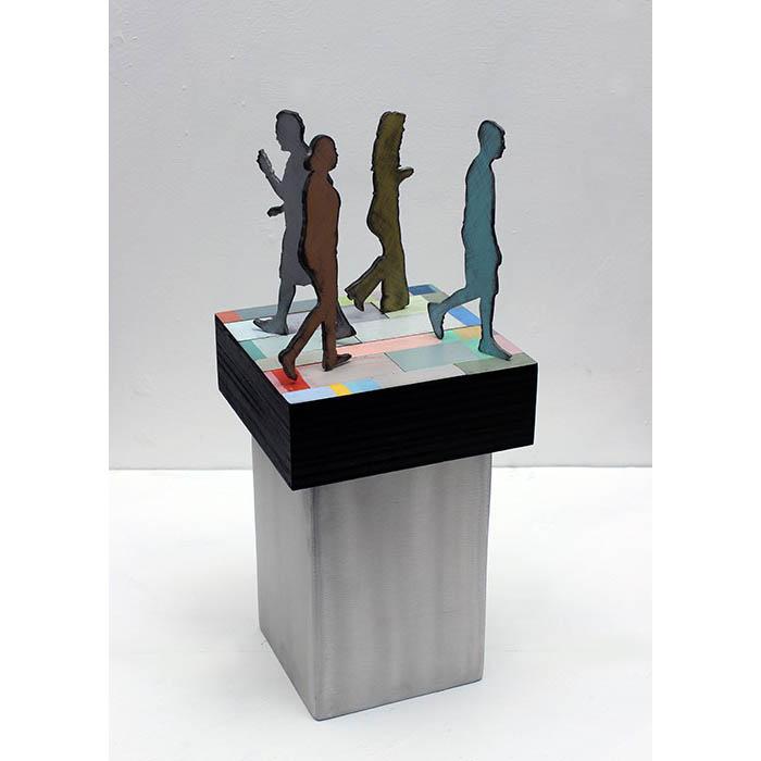 Richard Taylor - Public Square 2 - 17 in x 7 x 7 - aluminum, wood, enamel paint, varnish