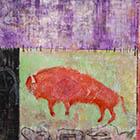 Red Buffalo - 49 in. x 45 - mixed media