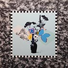 Blue Bouquet (with checkers) - 60 in. x 60 - Mixed Media